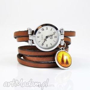bransoletka, zegarek - kotki brązowy, zegarek, kotki, skórzana, retro