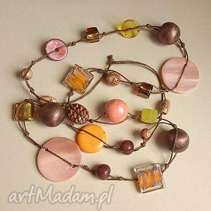 Abricot, długie, ceramika, drewno, korale, naszyjnik