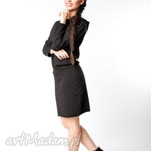 sukienki s m sukienka z kapturem czarna, bawełna, dzianina, wiosna, eko, sportowa