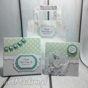 zestaw słonik z balonikiem w zieleni - pudełko, pamiątka, słonik