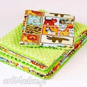 pokoik dziecka zestaw niemowlaka safari zielony, kocyk, poduszka, dla dziecka