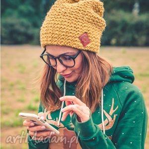 explorer pikantna musztarda, jesień, zima, czapka, włóczka, handmade