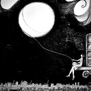 grafika piórkiem księżyc z włóczki , grafika, rysunek, włóczka, księżyc, kobieta