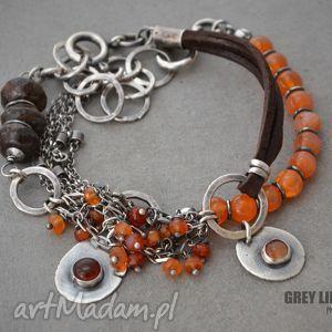 grey line project karneol, rzemienie i bronzyt - zestaw bransoletek, srebro, rzemień