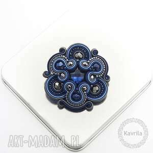 broszka divino navy blue soutache - broszka, sutasz, stylowa, orientalna