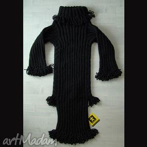 sukienka czarna dzianinowa dziewczęca, sukienka, dziecko, frędzle