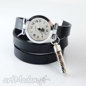 bransoletka, zegarek - koraliki czarny, skórzany, zegarek, skórzany