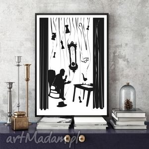 grafika czas 100x70 cm , plakat, b1, 100x70, czarnobiałe, ilustracja dom
