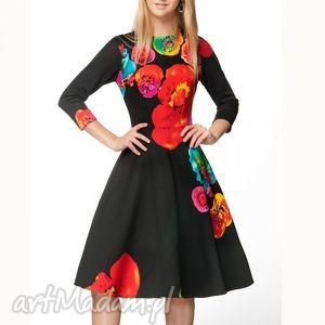 sukienki sukienka star 3 4 midi marika czarna , midi, kwiecista, rozkloszowana