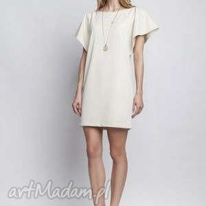 lanti urban fashion sukienka, suk104 beż, falbany, czarująca, beżowa