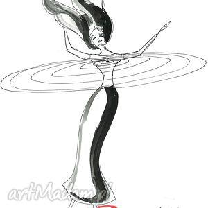 grafika wykonana akwarelą i piórkiem taniec serca, grafika, rysunek