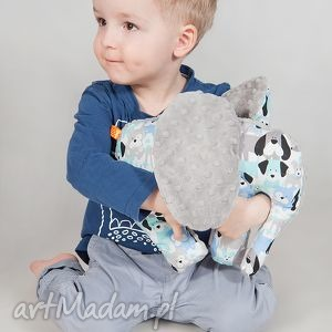 mięciutki słonik - minky bawełna szare pieski, minky, zabawka, pluszak, maskotka