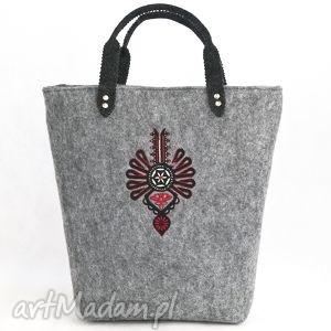 torebka filcowa z pojedyńczą parzenicą, do ręki , filc, torba
