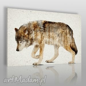 obraz na płótnie - wilk 120x80 cm 14201 , wilk, zwierzę, skandynawski, nowoczesny