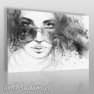 obraz na płótnie - kobieta czarno-biały 120x80 cm 39302 , kobieta, okulary