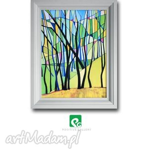 wiosna grafika, drzewa, las, wiosna, pejzaż, wydruk, plakat