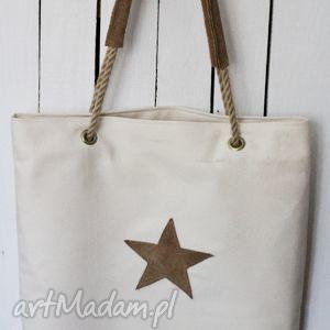 Torba ze skórzanymi dodatkami, torba, torebka, damska, zakupy, plażowa, skórzana