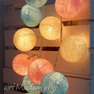 Cotton balla lights kule girlandy, skandynawski, desing, skrzynka, sypialnia
