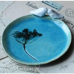 ceramika średni talerzy turkusowy, ceramika, talerz, ptak