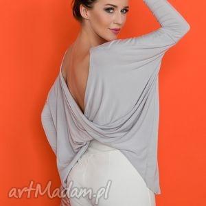 bluzka 2 w 1 t139 jasnoszary, bluzka, wygodna, szeroka, fikuśna bluzki