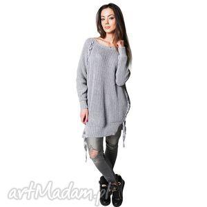 tuniki sweter comfort 1 szary, sweter, bawełna, długi ubrania, prezent na święta