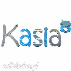 pokoik dziecka litery drewniane, ręcznie malowane do każdego napisu motyw sowa lub