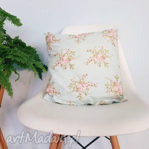 poduszki poduszka z poszewką 40x40, poduszka, poszewka, miętowa, vintage