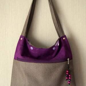 na ramię torebka z ekozamszu, torebka, alcantara, ekozamsz, prezent, torba, kieszenie