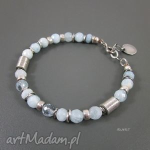 irart bransoletka z akwamarynu walcami, akwamaryn, srebro, oksydowane biżuteria