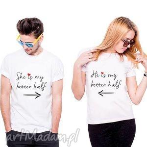 Prezent Koszulka dla Par SHE/ HE IS MY BETTER HALF , fan, prezent, love