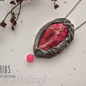 wisior pink lady, wisior, wisiorek, jaspis, różowy, srebrny wisiorki biżuteria