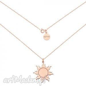 sotho długi naszyjnik ze słońcem z różowego złota, modny, naszyjnik, srebro