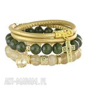 kale gold , jadeit, kwarc, rzemień, krzyz, zestaw biżuteria