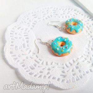 kolczyki - donut z polewą i posypką, donut, donuty, pączki, kolczyki, biżuteria