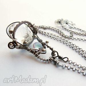naszyjniki adonis - kwarc crystal, topaz mistyczny, wire wrapping, kwarc