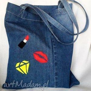 święta prezent, na ramię eko torba z naszywkami, ekotorba, jeans, recykling, szminka