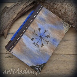 wolfpath studio notes a6 z drewniano-skórzaną miękką okładką wiking - ręcznie robiony