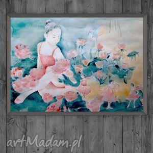 obrazy czary w różanym ogrodzie oryginalna akwarela, dziewczęca, baletnica