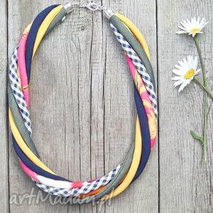 kolorowy naszyjnik tekstylny - pracownia zolla rękodzieło, eco, kolorowy