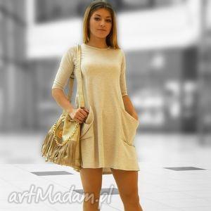 tunika z dużymi kieszeniami, tuniki, sukienki, luźne, kieszenie, midi, kobieta