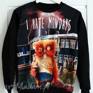 bluza z nadrukiem i hate mondays print 3d, redmasterclothes, bluza, sowa