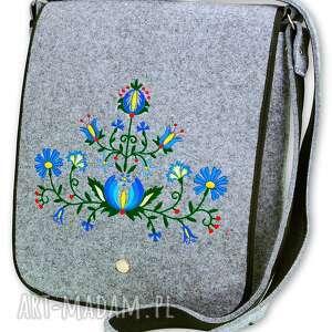 filcowa torebka listonoszka - kwiaty t101003, torebka, listonoszka, haft