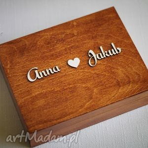 Pudełko na obrączki z imionami, ślub, obrączki, pudełkonaobrączki, drewno