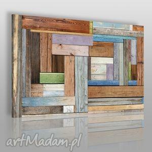 Obraz na płótnie - DREWNO DESKI 120x80 cm (17301), deski, drewno, kolory, kolorowy