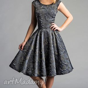 Sukienka SCARLETT (Koło) Midi Ofelia, midi, błyszcząca, srebrna, złota, tiul