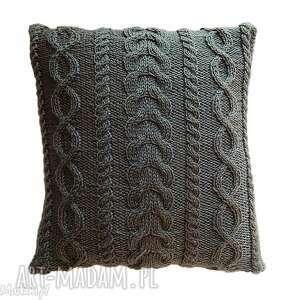 poduszki poduszka szare warkocze, handmade, miękka, niemechacąca, unikatowa