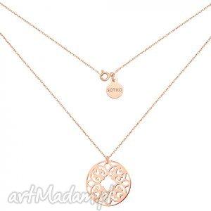 handmade naszyjniki naszyjnik z różowego złota z ażurową rozetką