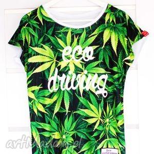 koszulka marihuana z nadrukiem 3d napisem eco driving, redmasterclothes