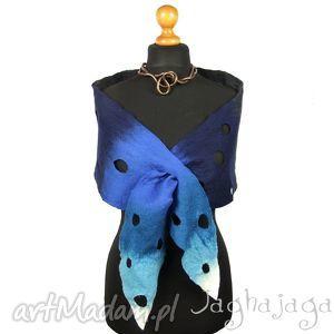 mat- szal filcowany - filc, wełna, szal, rękodzieło, niebieski, ciepły
