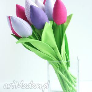 TULIPANY - BUKIET 10 BAWEŁNIANYCH KWIATÓW, tulipany, kwiaty, dekoracje, bukiet